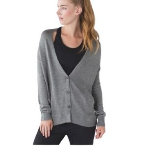 Lululemon Cardi in the Front Button Up Gray 2